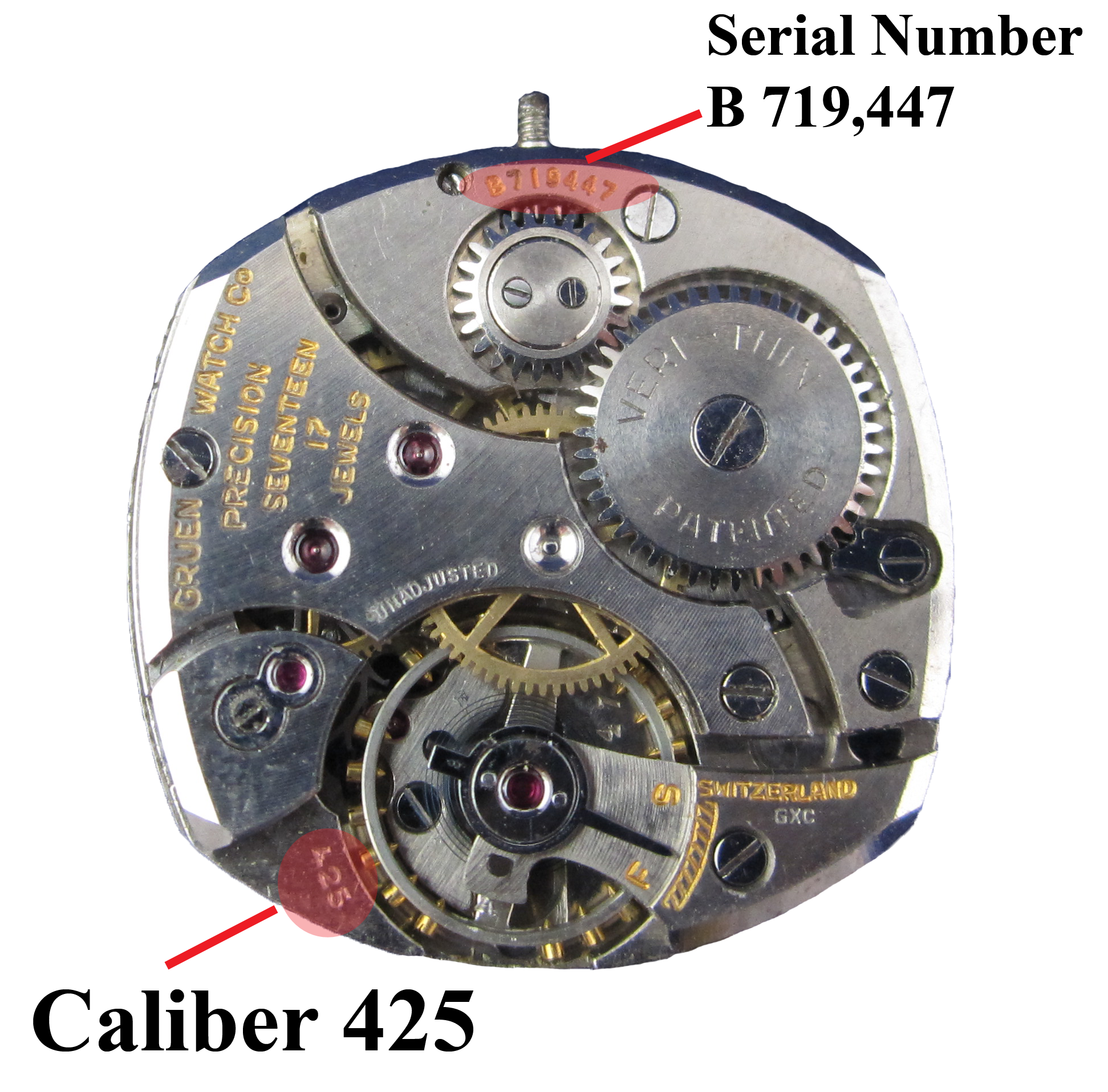 Location of serial number on Gruen Watch movement